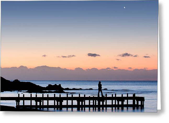 Women Only Greeting Cards - Silhouette of a woman walking on a pier Greeting Card by Greg Brave