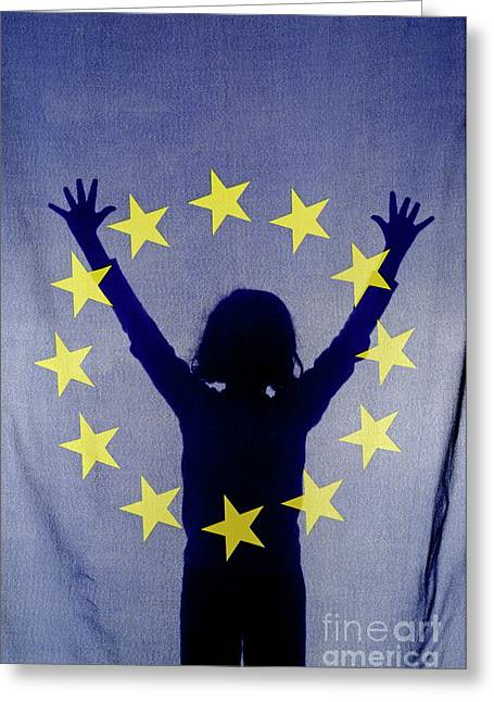 Raised Image Greeting Cards - Silhouette of girl with arms raised behind European Union Flag Greeting Card by Sami Sarkis