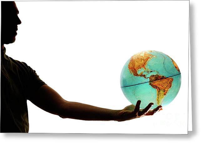 One Mature Man Only Greeting Cards - Silhouette of man holding globe Greeting Card by Sami Sarkis