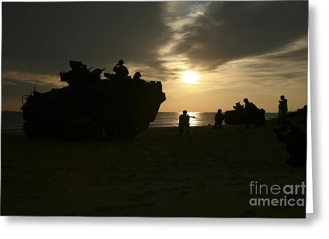 Carrier Greeting Cards - Silhouette Of Marines And An Amphibious Greeting Card by Stocktrek Images