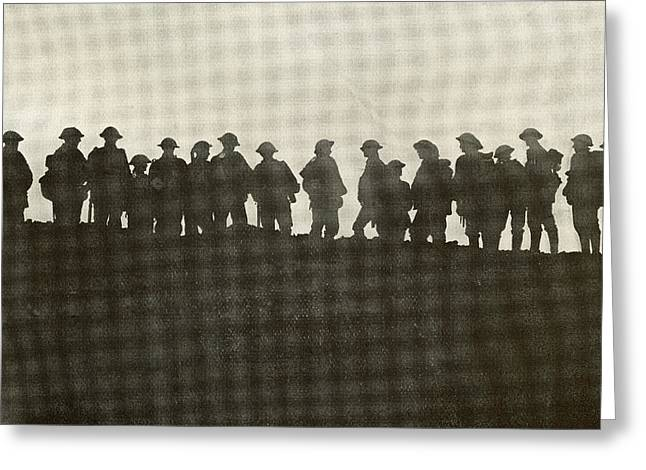 Wwi Greeting Cards - Silhouette Of Reserve Soldiers Waiting Greeting Card by Ken Welsh