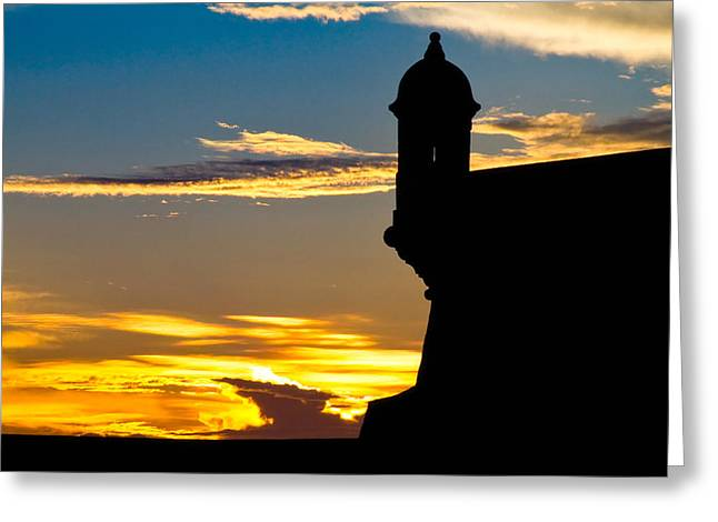 Old San Juan Greeting Cards - Silhouette of the Walls of El Morro Greeting Card by George Oze