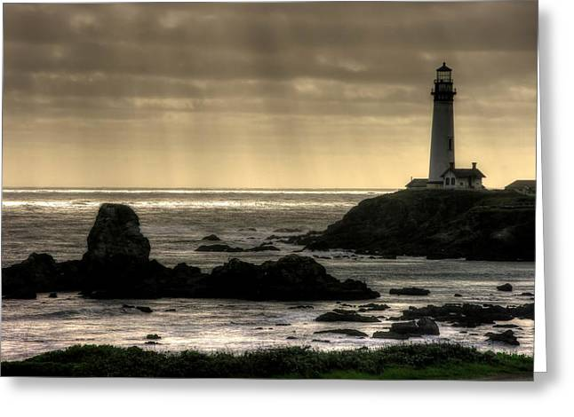 Historic Site Greeting Cards - Silhouette Sentinel - Pigeon Point Lighthouse - Central California Coast Spring Greeting Card by Michael Mazaika