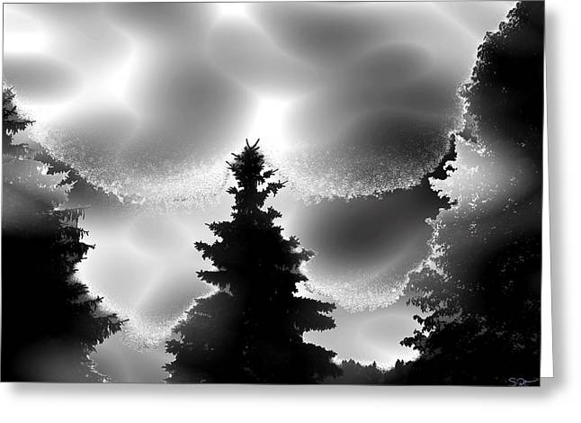 Fantasy Tree Greeting Cards - Silhouette Trees through Fog Greeting Card by Stephen  Killeen