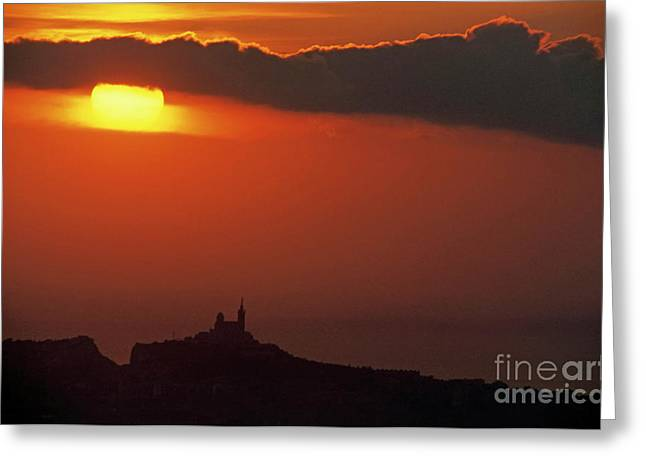 Sami Sarkis Greeting Cards - Silhouetted cityscape of Marseille at sunset Greeting Card by Sami Sarkis