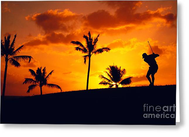 Silhouetted Golfer Greeting Card by Dana Edmunds - Printscapes