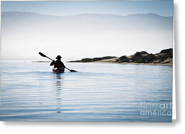 Silhouetted Kayaker in Morro Bay Greeting Card by Bill Brennan - Printscapes