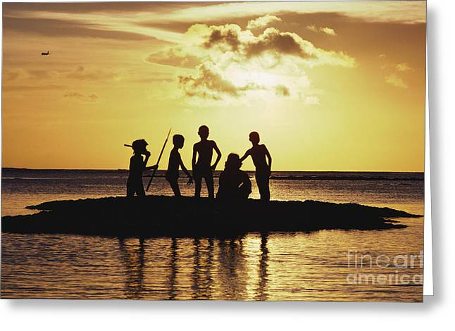 Amazing Sunset Greeting Cards - Silhouetted Sandbar Greeting Card by Dana Edmunds - Printscapes