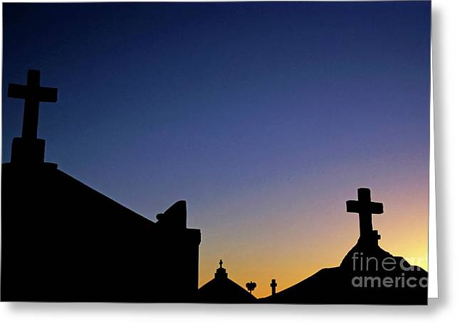 Headstones Greeting Cards - Silhouetted tombstones in the Marine Cemetery in Bonifacio Greeting Card by Sami Sarkis