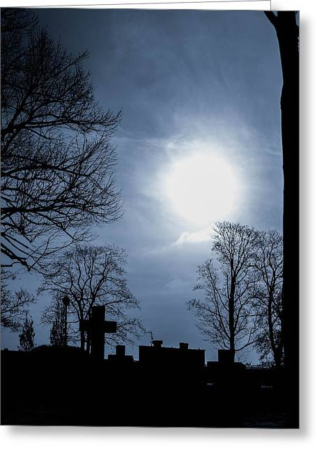 Knee-high Greeting Cards - Silhouettes of trees and crosses Greeting Card by Toppart Sweden