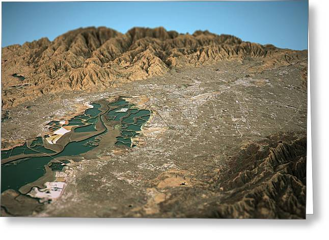 Silicon Valley 3d View West To East Natural Color Greeting Card by Frank Ramspott