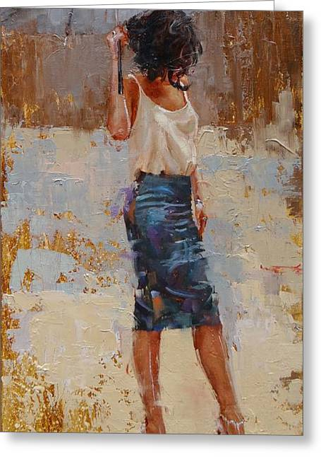 High Heeled Paintings Greeting Cards - Silk Greeting Card by Laura Lee Zanghetti