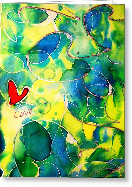 Bright Colors Tapestries - Textiles Greeting Cards - Silk Painting With a Heart  Greeting Card by Alexandra Jordankova