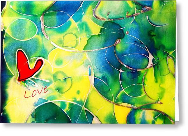 Silk Painting With a Heart  Greeting Card by Alexandra Jordankova