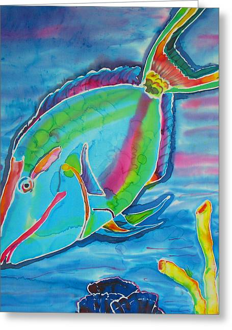 Tropical Island Tapestries - Textiles Greeting Cards - Silk Parrotfish Greeting Card by Kelly     ZumBerge