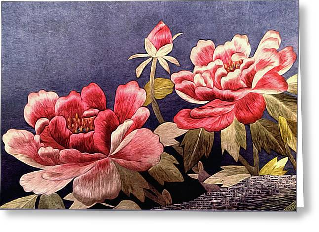 Botanical Greeting Cards - Silk Peonies - Kimono Series Greeting Card by Susan Maxwell Schmidt