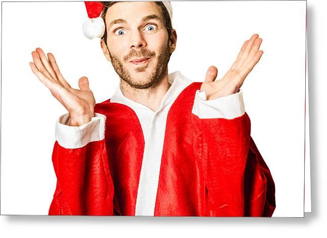 Silly Season Santa Under Crazy Stress Greeting Card by Jorgo Photography - Wall Art Gallery