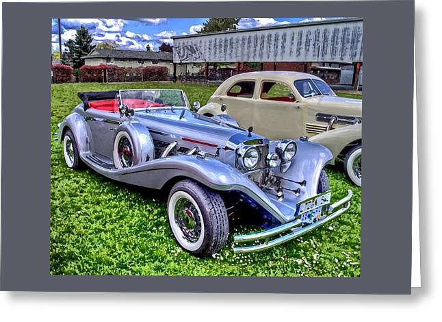 Automobile Greeting Cards - Silver 540K Mercedes   Greeting Card by Thom Zehrfeld
