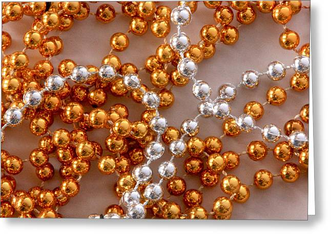 Beaded Necklace Greeting Cards - Silver and Gold Greeting Card by Joe Kozlowski