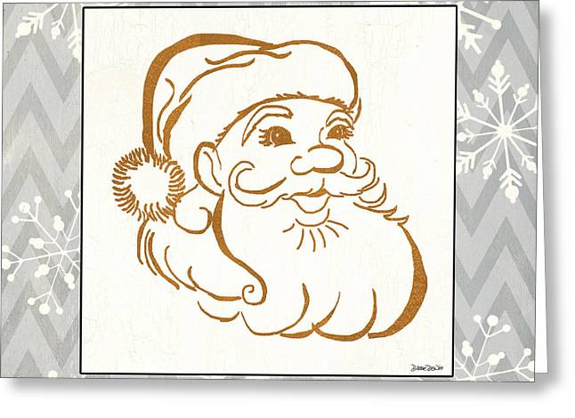 Snowflake Greeting Cards - Silver and Gold Santa Greeting Card by Debbie DeWitt