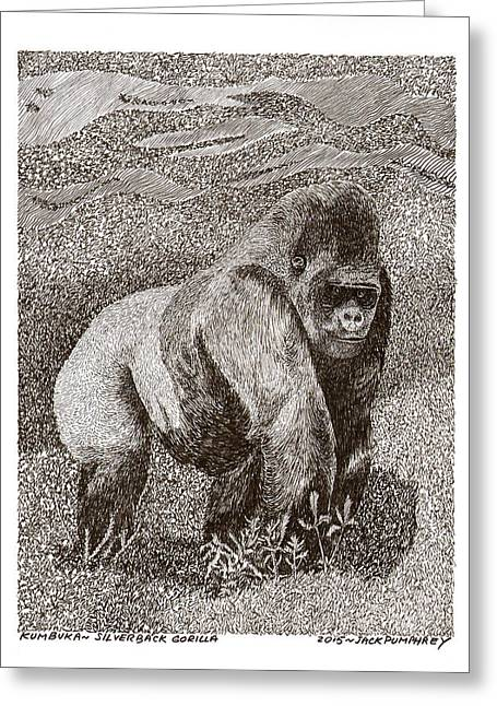 Gorilla Drawings Greeting Cards - Silver Back Gorilla in the mist Greeting Card by Jack Pumphrey