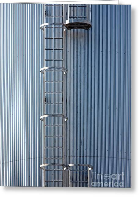 Dairy Factories Greeting Cards - Silver blue silo with steel ladder. Greeting Card by Jan Brons