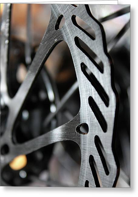 Technical Photographs Greeting Cards - Silver Brake Greeting Card by Angie Wingerd