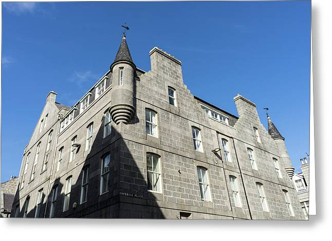 Silver City Architecture - Aberdeen Granite Facade With A Whimsical Tower Greeting Card by Georgia Mizuleva