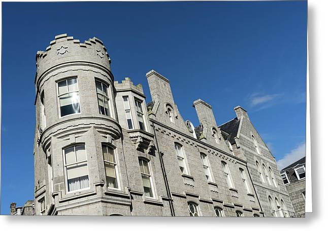 Silver City Architecture - Crenellated Castle Style Facade In Aberdeen Greeting Card by Georgia Mizuleva
