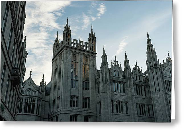 Silver City Architecture - The Magnificent Marischal College At Sunrise Greeting Card by Georgia Mizuleva