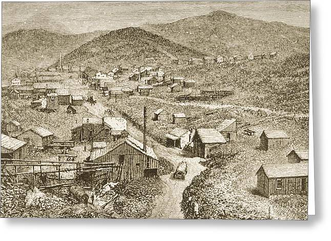 Silver City Greeting Cards - Silver City Nevada In 1870s. From Greeting Card by Ken Welsh