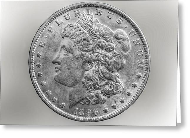 Silver Coins Greeting Cards - Silver Dollar Coin Greeting Card by Randy Steele