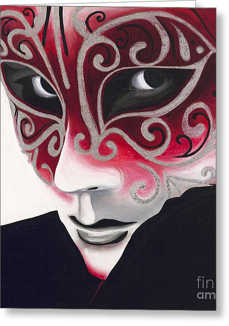 Psovart Paintings Greeting Cards - Silver Flair Mask Greeting Card by Patty Vicknair