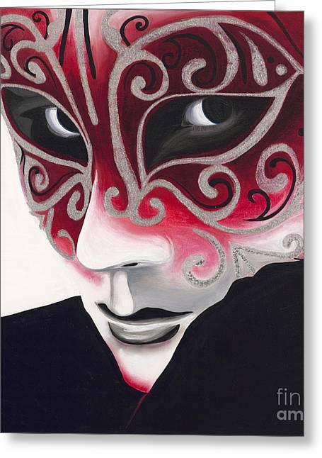 Mardi Gras Paintings Greeting Cards - Silver Flair Mask Greeting Card by Patty Vicknair