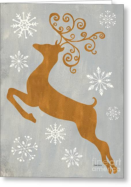 Silver Gold Reindeer Greeting Card by Debbie DeWitt
