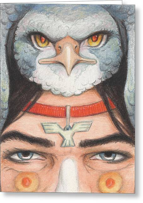 Amulets Greeting Cards - Silver Hawk Warrior Greeting Card by Amy S Turner