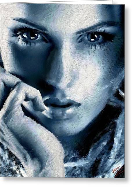 Male Portraits Digital Art Greeting Cards - Silver lady Greeting Card by James Shepherd