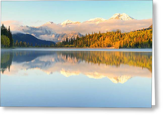 Surreal Landscape Greeting Cards - Silver Lake Panorama Greeting Card by Johnny Adolphson
