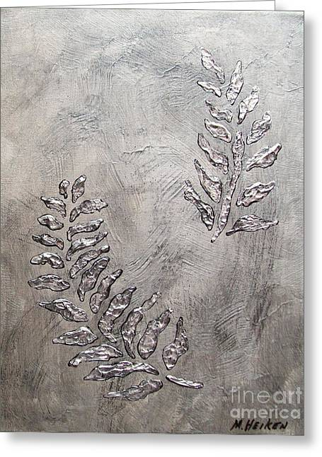 Metalic Greeting Cards - Silver Leaves Greeting Card by Marsha Heiken