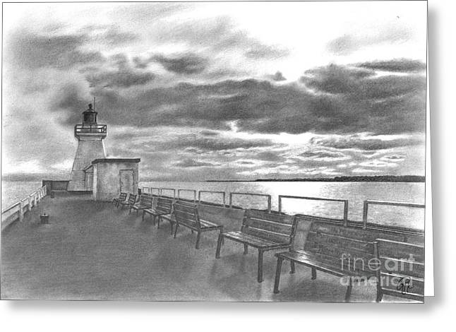 Port Town Drawings Greeting Cards - Silver Linings Greeting Card by Rebeka McFarlane