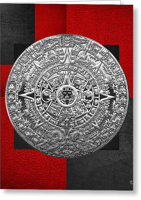 Mayan Mythology Greeting Cards - Silver Mayan-Aztec Calendar on Black and Red Leather Greeting Card by Serge Averbukh