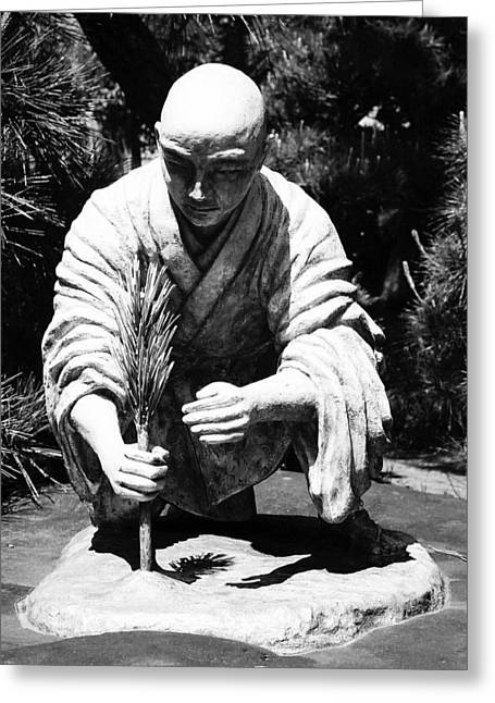 Osaka Greeting Cards - Silver-Monk Greeting Card by Juergen Weiss