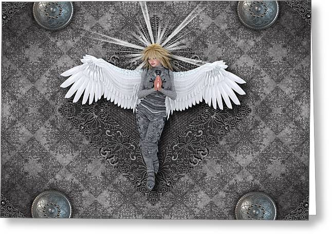 Empowerment Greeting Cards - Silver Praying Angel Greeting Card by Charm Angels