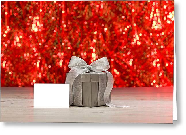 Christmas Eve Greeting Cards - Silver present and a place card  Greeting Card by Ulrich Schade