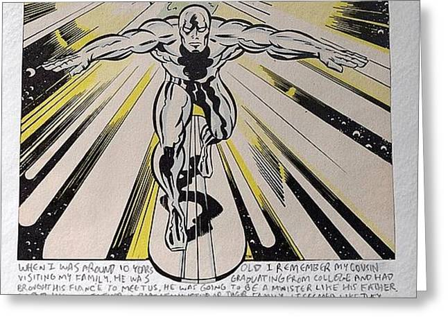 Consume Drawings Greeting Cards - Silver Surfer Greeting Card by William Douglas