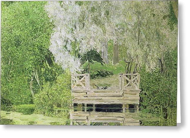 Silver White Willow Greeting Card by Aleksandr Jakovlevic Golovin