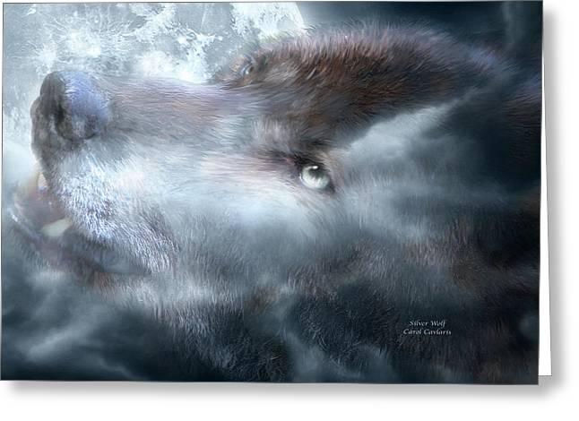 Silver Wolf Greeting Card by Carol Cavalaris