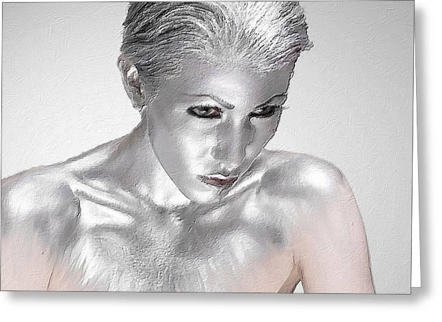 Gray Hair Mixed Media Greeting Cards - Silver Woman 2 Greeting Card by Tony Rubino