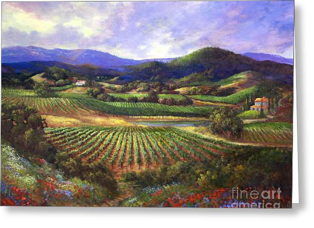 Calistoga Paintings Greeting Cards - Silverado Valley Blooms Greeting Card by Gail Salituri