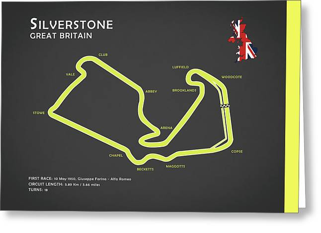 Formula 1 Greeting Cards - Silverstone Greeting Card by Mark Rogan